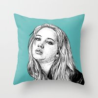 jennifer lawrence Throw Pillows featuring Jennifer Lawrence by Sharin Yofitasari
