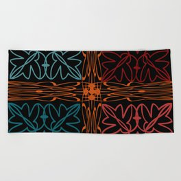 Teal Motif Beach Towel
