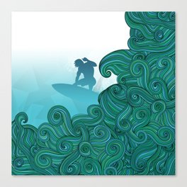 Surfer dude hangin ten and catching a wave Canvas Print