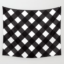 Contemporary Black & White Tilt Gingham Pattern - Mix & Match With Simplicty Of Life Wall Tapestry
