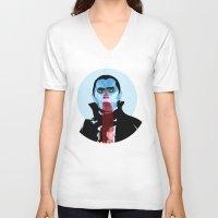 vampire V-neck T-shirts featuring Vampire by Alvaro Tapia Hidalgo