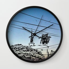 over smal trown the sunset Wall Clock