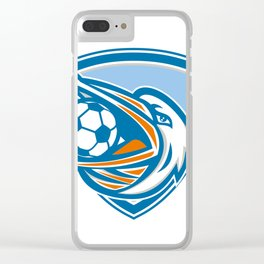 Pelican Soccer Ball In Mouth Shield Retro Clear iPhone Case