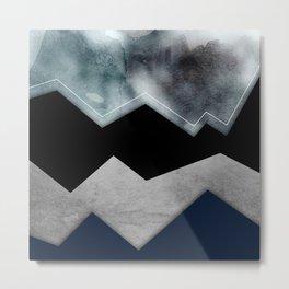 Silver Stormy Mountians Metal Print