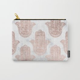 Modern rose gold floral lace hamsa hands white marble illustration pattern Carry-All Pouch