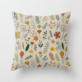 Colorful Plants and Herbs Pattern Throw Pillow