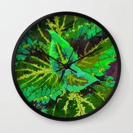 Green Coleus Ornamental Plant - Botanical Art Illustration Wall Clock