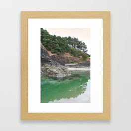 Oregon Coast Tide Pool Green Glowing Forest Coastal Cliff Rocky Landscape Beach Northwest Volcano Framed Art Print