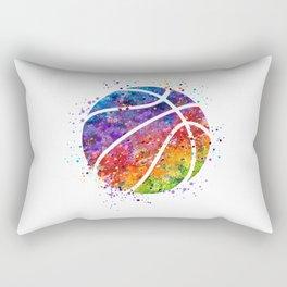 Basketball Ball Colorful Watercolor Sports Art Rectangular Pillow