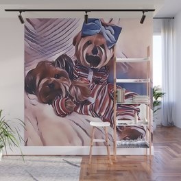 2 Yorkies Getting Ready For Bed Wall Mural