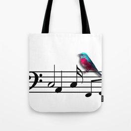 Bird on Music Sheet Tote Bag