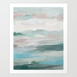 Sage Green Sky Blue Blush Pink Abstract Nature Sky Wall Art, Water Land Painting Print Art Print