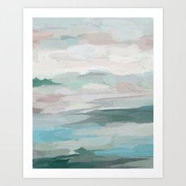 Sage Green Sky Blue Blush Pink Abstract Nature Sky Wall Art, Water Land Painting Print Art Print