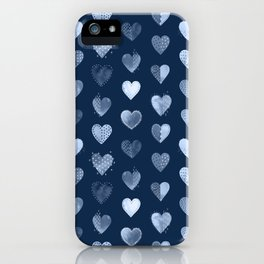 Denim Patch Boro Embroidery Hearts iPhone Case