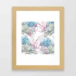 Pretty Pastel Succulents Garden 2 Framed Art Print