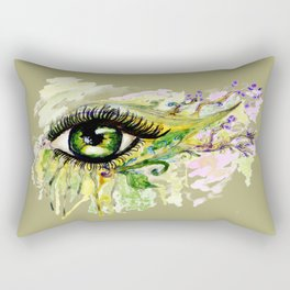 Green eye with sakura Rectangular Pillow