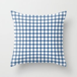 Gingham - Classic Blue Throw Pillow