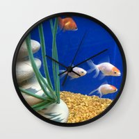 swimming Wall Clocks featuring Swimming by Jenna Allensworth