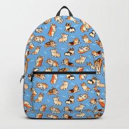 Jolly corgis in blue Backpack