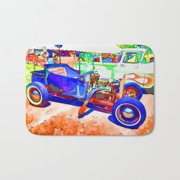 Blue vintage car Bath Mat