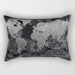 world map mandala black and white 3 Rectangular Pillow