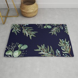Winter Branches and Juniper Berries on Winter Blue Rug