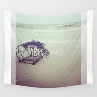 fishing Wall Tapestries featuring FISHING by Kath Korth