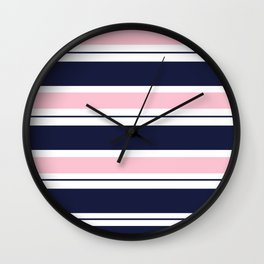 Blue Navy and Pink Stripes Wall Clock