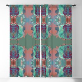 Abstract Mirrored Flower Pattern Blackout Curtain