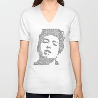 dylan V-neck T-shirts featuring Bob Dylan by S. L. Fina
