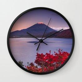 I - Last light on Mount Fuji and Lake Motosu, Japan Wall Clock