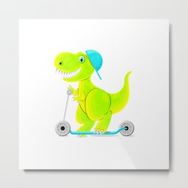 Dinosaur teen ride a scooter Metal Print
