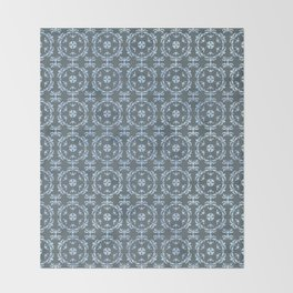 Vintage Damask Tile Pattern Blue Throw Blanket