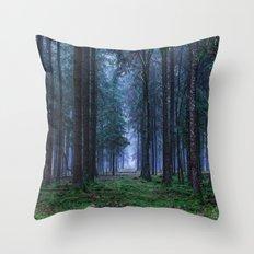 Green Magic Forest Throw Pillow