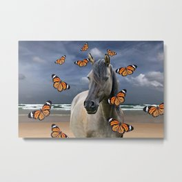 Grey Horse on Beach with orange Butterflies #society6 Metal Print
