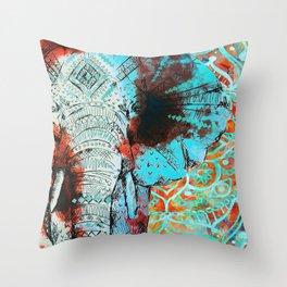 Indian Sketch Elephant Blue Orange Throw Pillow