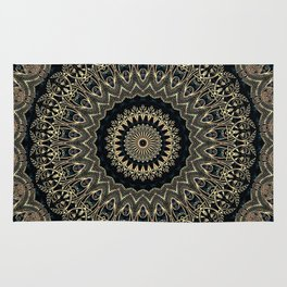 Gold Filigree Mandala Rug