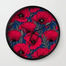 Night poppy garden  Wall Clock
