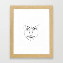 Pierced Sketch Face Framed Art Print