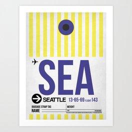 SEA Seattle Luggage Tag 1 Art Print