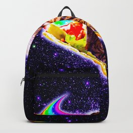 Rainbow Laser Eyes Galaxy Cat Riding Taco Backpack