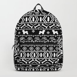 Bichon Frise christmas fair isle black and white dog silhouette minimal winter sweater holiday Backpack