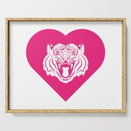 Tiger Mascot Cares Pink Serving Tray