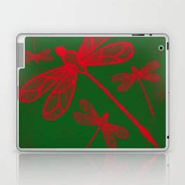 Red embroidered dragonflies on green textured background Laptop & iPad Skin