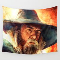 gandalf Wall Tapestries featuring Mithrandir by Five-Oclock