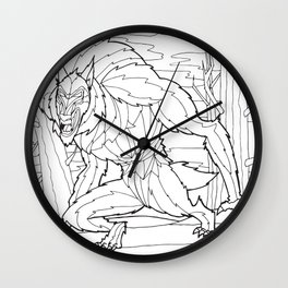 Werewolf from the Bestiary Coloring Book Wall Clock