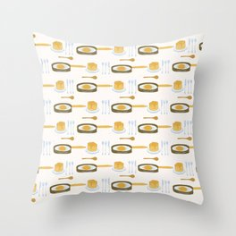 Cute pancake day breakfast illustration Throw Pillow