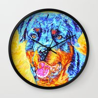 rottweiler Wall Clocks featuring Rottweiler by LiliyaChernaya