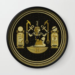 Egyptian Ornament Gold on black with hieroglyphs Wall Clock