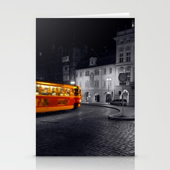 Tram at Night - Colour Composite  Stationery Cards